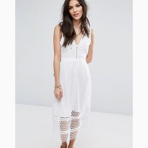 Abercrombie & Fitch Lace Zip-Back Midi Dress